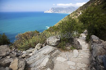 trail at the mediterranean sea liguria