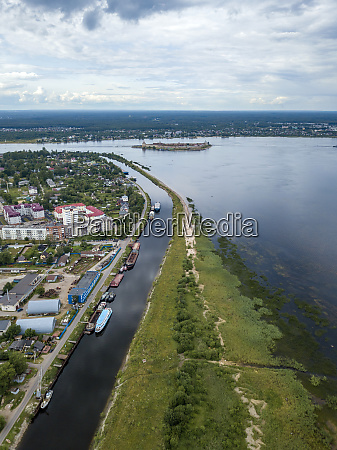 aerial view of neva river in