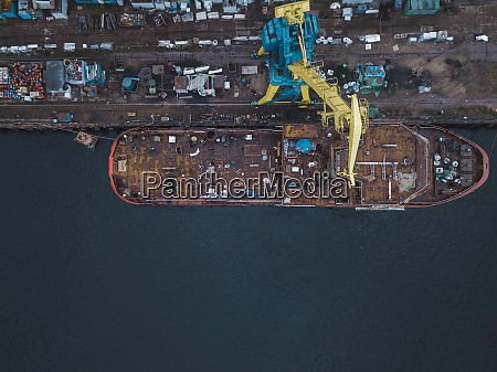 drone view of ship in neva