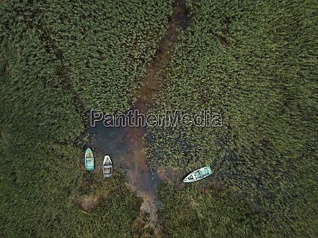 aerial view of boats moored on