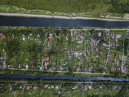 aerial view of ladoga canals at