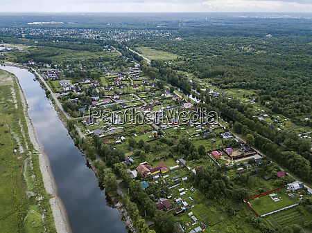aerial view of ladoga canals against