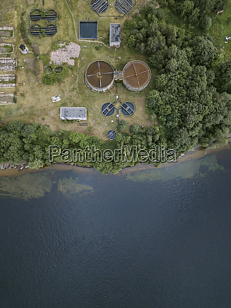aerial view of hydroelectric station by