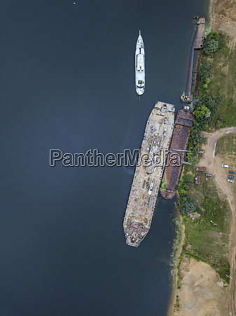 aerial view of ship in volga