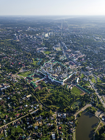 aerial view of trinity lavra of