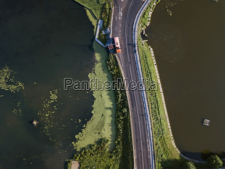 aerial view of truck on road