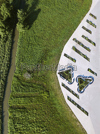 aerial view of public park at