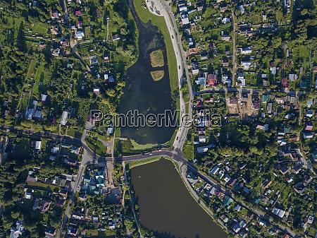 drone shot of sergiev posad town