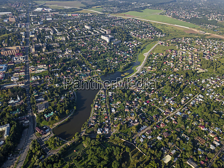 aerial view of sergiev posad town