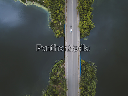 aerial view of bridge over volga