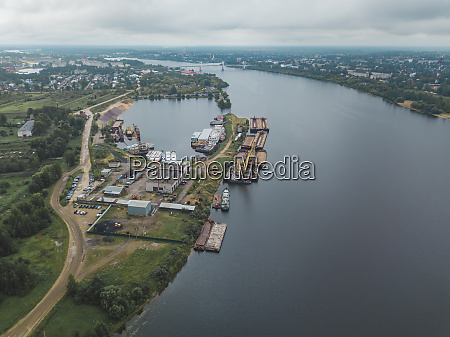 aerial view of volga river against