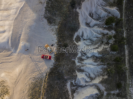 aerial view of cars on volcanic