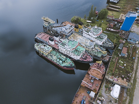 aerial view of ships moored in