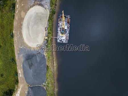 aerial, view, of, barge, in, volga - 28025393