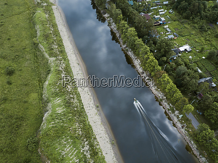 aerial, view, of, boat, moving, on - 28025372
