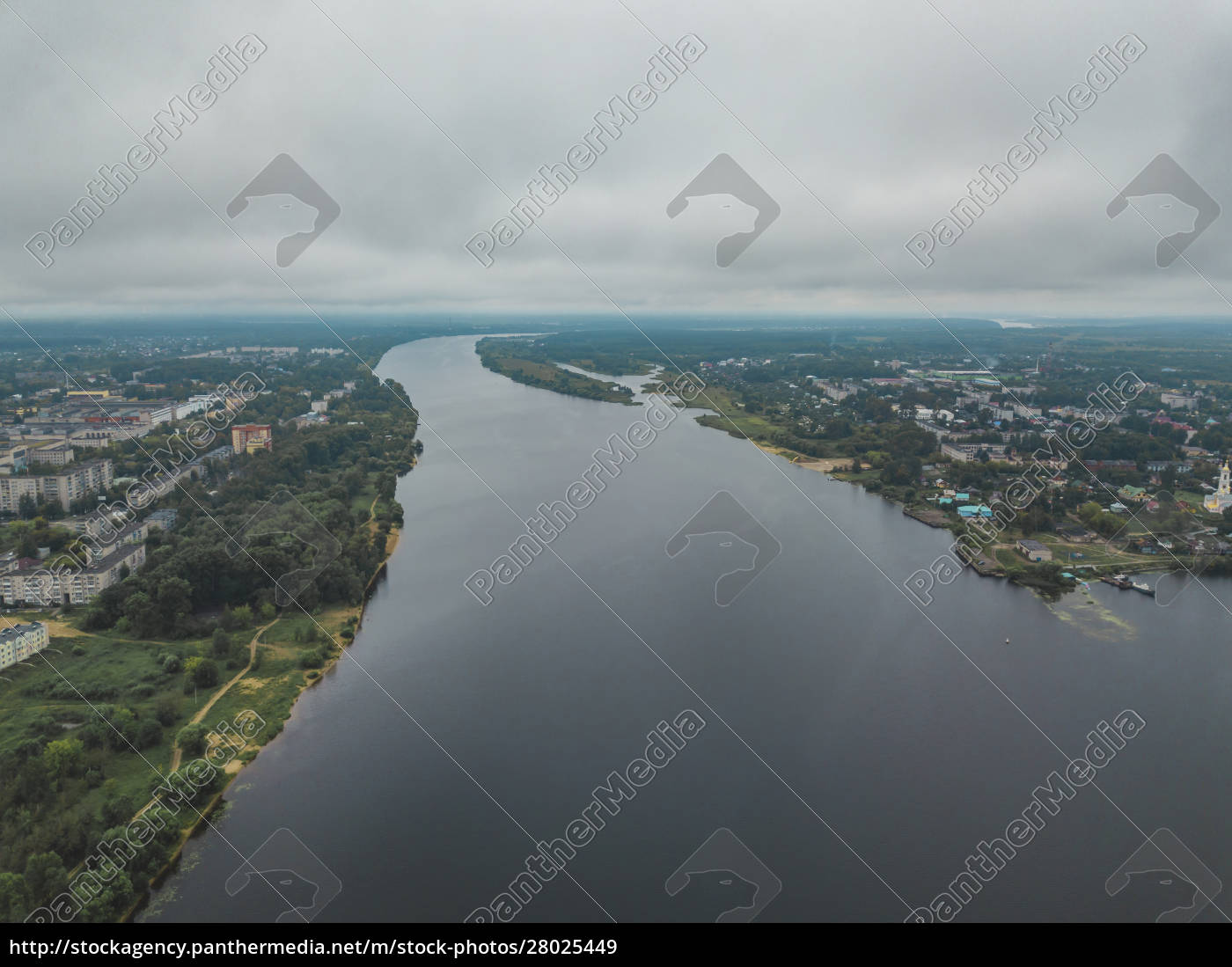 aerial, view, of, volga, river, against - 28025449