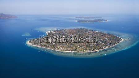 aerial view of gili islands against