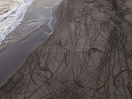 aerial view of tyre tracks at