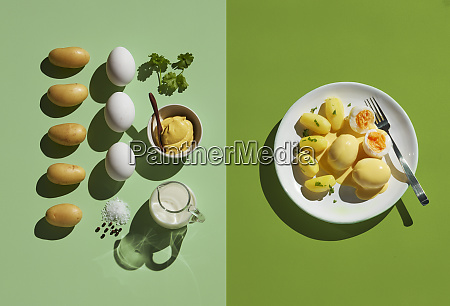 directly above shot of eggs by
