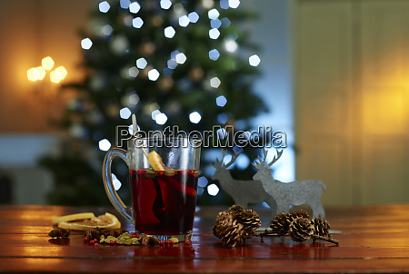 close up of mulled wine with