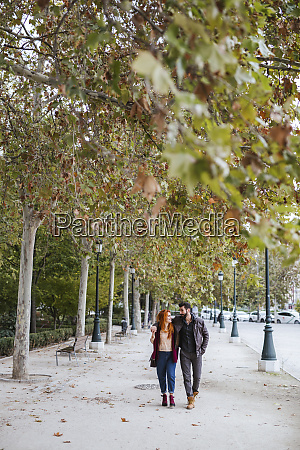 couple in love strolling in autumn