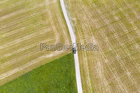 aerial view of tractor on dirt