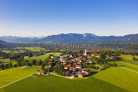 aerial view of town and mountains