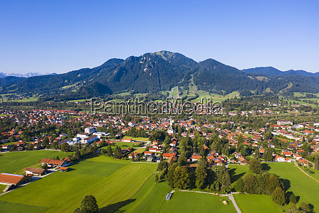 aerial view of lenggries with brauneck