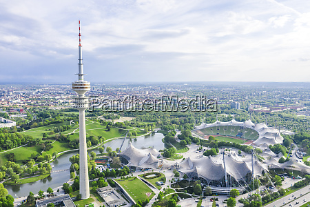 germany bavaria munich aerial view ofolympiaparkand