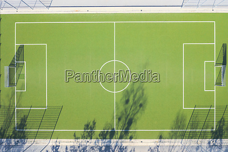 drone view of soccer field