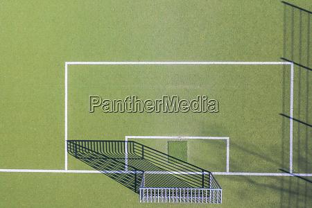 drone shot of soccer field munich