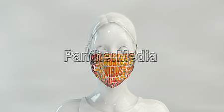 wuhan virus concept with woman wearing