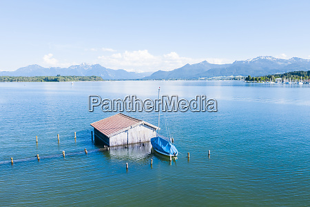 germany bavaria boathouse standing in blue