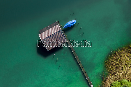germany bavaria aerial view of boathouse