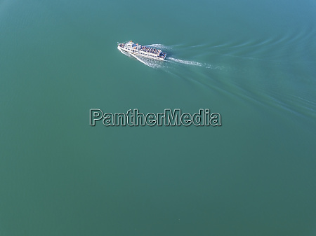 germany bavaria aerial view of tourboat