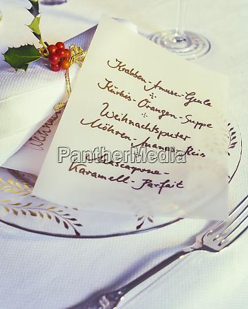 handwritten menu card