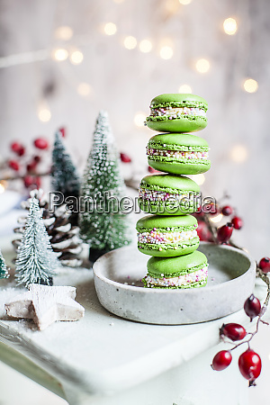 stack of green macaroons and christmas