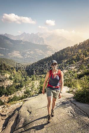 female hiker during hike haute corse