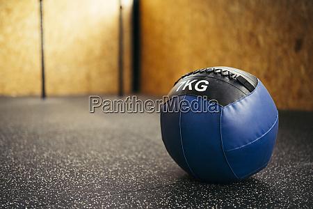 blue medicine ball in a corner