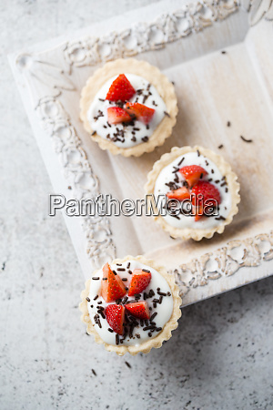 directly above shot of tarts with