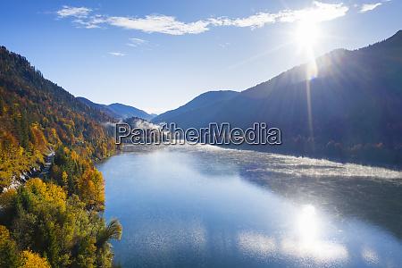 germany bavaria lenggries sun shining over