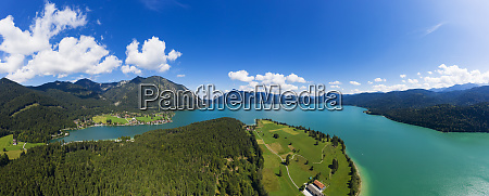 germany bavaria aerial panorama of lake