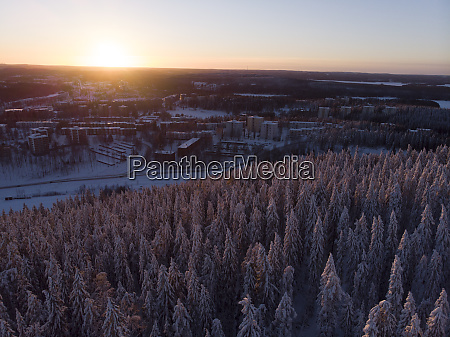 finland kuopio aerial view of winter