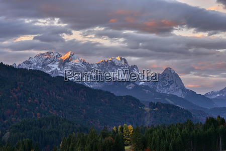 wetterstein mountains with zugspitze and waxenstein