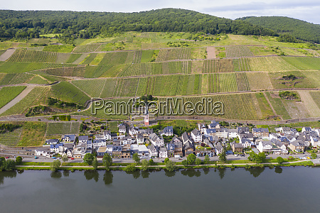 drone shot of zell town by