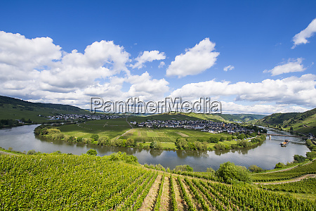 aerial view of mosel river bend