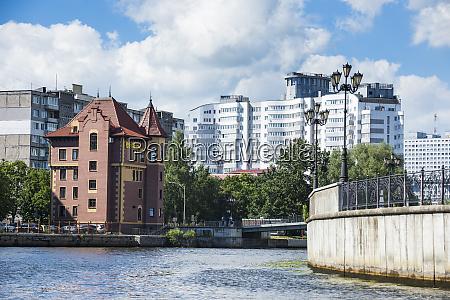fishing village by pregel river against