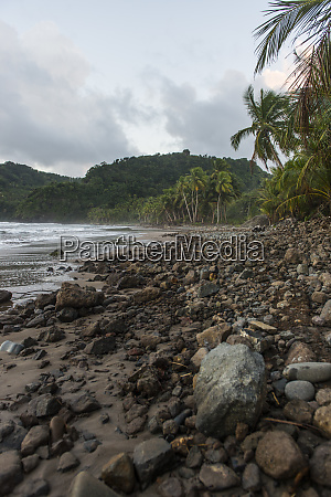 scenic view of volcanic beach against