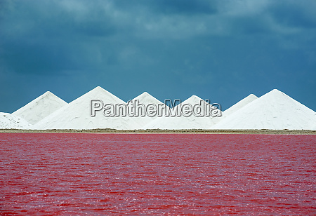 view of red salt lake against