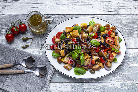 panzanella italian bread salad with roasted